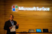 The chairman of Microsoft India Bhaskar Pramanik speaks during the launch of the Microsoft Surface Pro 4 tablet in New Delhi on Jan. 7, 2016.