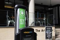 Curbside electric-car charging in Jersey City...