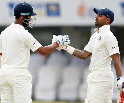 1st Test: Dhawan, Pujara power India to 399/3 against Sri Lanka on Day 1