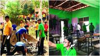 Kurla students help rebuild tribal school near Karjat