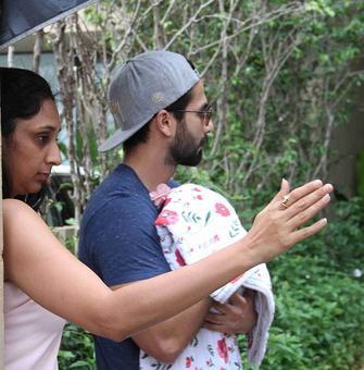 PIX: Shahid, Mira take their baby home