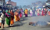 Civil society organisations organize demonstration against economic blockade in Manipur