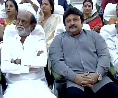 At DMK event, Kamal Haasan on stage, Rajini in audience