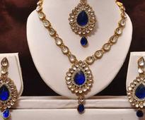 Dark Blue N White Kundan Necklace Set