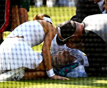 Mattek-Sands hospitalised screaming in pain after Wimbledon fall