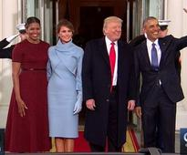 Trumps arrive at White House, to tea with the Obamas