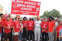 School children take out a rally against drug abuse