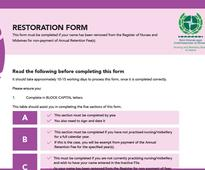 Restoration form available to download