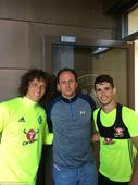 David Luiz and Oscar team up with legendary Brazilian goalkeeper Rogerio Ceni at Chelsea's training ground