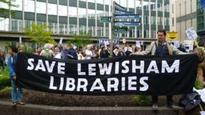 Hundreds protest against library cuts