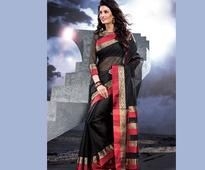 Woven Supernet Saree in Black