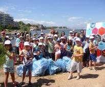 Cigarette butts and plastic top litter items at Greece's European Cleanup Day
