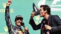 Two Aussies meet on F1 podium  cue, shoey