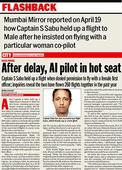 Pilot who wouldn't fly without female first officer sent to city