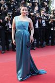 Aishwarya Rai in one-shouldered teal blue satin at Cannes premiere