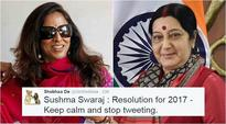 Shobhaa De asks Sushma Swaraj to stop tweeting and Twitterati give it back to her