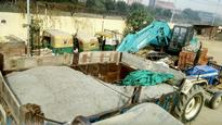 Two trucks filled with sand caught in Greater Noida