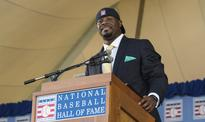 Perfect: Ken Griffey Jr. dons backwards hat during Hall of Fame speech