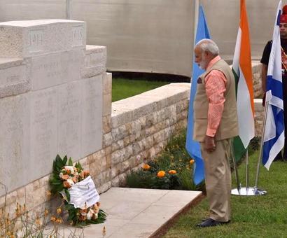 PHOTOS: PM Modi pays homage to Indian WW I heroes at Haifa