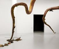 Huang Yong Ping suspends sculptural sea monster from Qatar museums gallery ceiling
