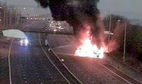 Traffic chaos on the M25 after HGV bursts into flames