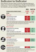 How India and Pakistan compare on various indicators under Human Development Index