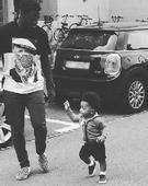 Sulley Muntari performs daddy duty in new photo