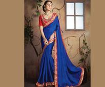 Embroidered Chiffon Satin Saree in Blue
