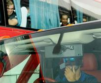 New Zealand players stumped as Dhoni drives his Hummer to the stadium