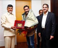 Check out Ajay Devgn meets Andhra Pradesh Chief Minister N Chandrababu Naidu