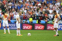 Spanish press denounce team as weak after Euro... Spain's midfielder Andres Iniesta (L) and Spain's midfielder Cesc Fa...