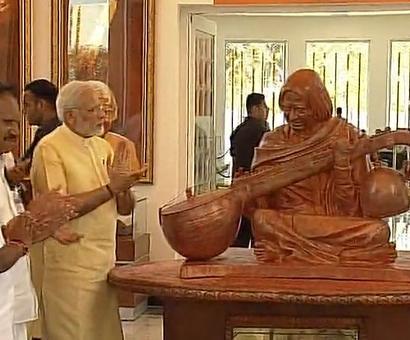 PM unveils statue of Kalam playing the veena at Rameswaram memorial