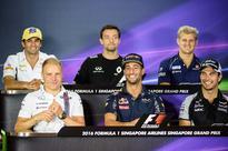 Faster, closer, more exciting -- Formula One d... (Top L-R) Sauber F1 Team's Brazilian driver Felipe Nasr, Renault Sport F...