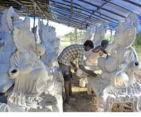 Hectic work for artisans making Ganapathy idols