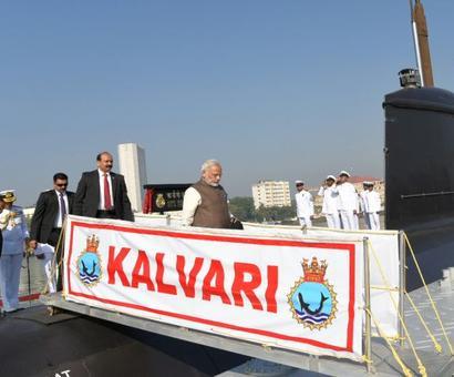 PM Modi commissions Scorpene-class submarine Kalvari