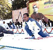 CM performed Surya-Namaskar and Pranayam with students