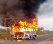 Koppal: Moving bus catches fire, passengers miraculously saved