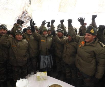Defence Minister meets troops in Ladakh