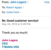 T-Mobile CEO and SVP respond to customer's email