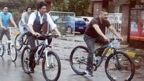 Look who joined Salman Khan and Shah Rukh Khan for their bike ride on Bandra streets!