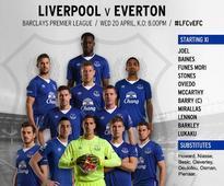 Liverpool v Everton starting line-ups