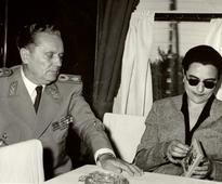 Court leaves family of Yugoslav leader Tito em... Yugoslav communist President Josip Broz Tito with his fifth wife Jovanka Bud...