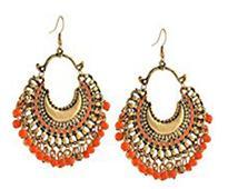 Chandbali Earring in Orange and White