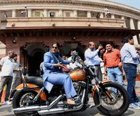 Driving to Parliament on a Harley Davidson, Cong MP Ranjeet Ranjan celebrates Womens Day