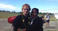 Ed Sheeran Flies In