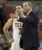 Texas head coach Rick Barnes talks with Javan Felix