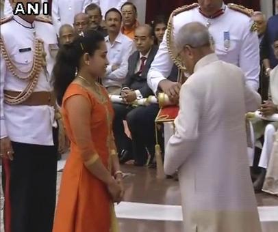 Olympians Sakshi, Karmakar receive Padma honours