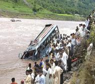 Seven killed, forty injured as bus plunges into river in UP