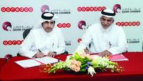 Ooredoo and Qatar Chamber sign cooperation agr... Yousuf Abdulla Al Kubaisi, COO of Ooredoo Qatar, and Saleh Hamad Al Sharqi, ...