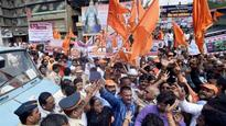 Mumbai: BJP ally Shiv Sena raises slogans to protest rising fuel prices